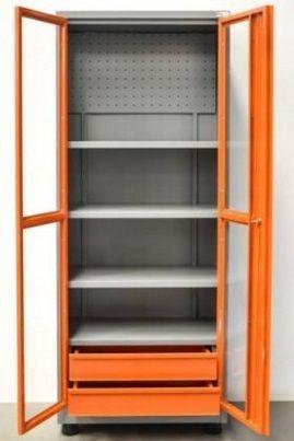 Armário Industrial multiuso com 04 prateleiras, 02 gavetas e porta em acrilico BRA-254MP BRACLAY