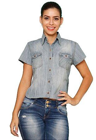 Blusa com dois Bolsos Manga Curta Jeans