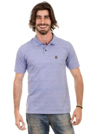 Camisa Gola Polo Fio Tinto Azul