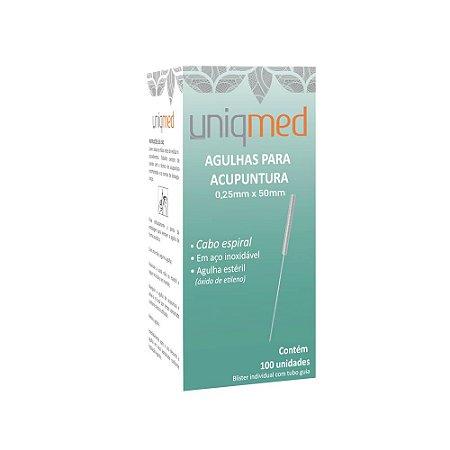 Agulha Acupuntura 0,25X50mm c/ 100 un. UNIQMED