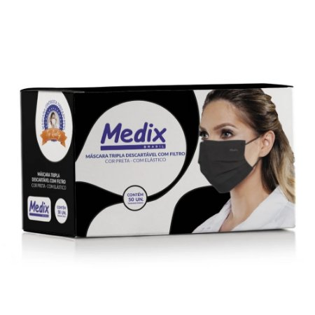 Máscara Cirúrgica Tripla com Elástico PRETA Caixa c/ 50 Un. Medix