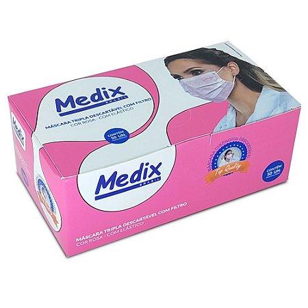 Máscara Cirúrgica Tripla com Elástico ROSA Caixa c/50 un. Medix