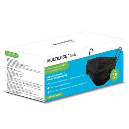 Máscara Cirúrgica Tripla com Elástico PRETA c/50un. HC367 Multilaser