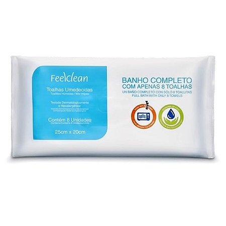 Toalhas Umedecidas Banho Completo c/8un. Feelclean