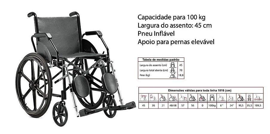 CADEIRA DE RODAS 1016 PNEU MACIÇO 45 PRETA COURVIN JAGUARIBE