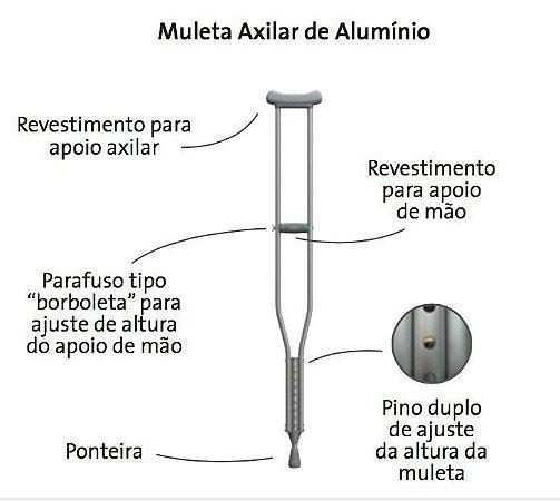 MULETA AXILAR MÉDIA EM ALUMÍNIO MERCUR
