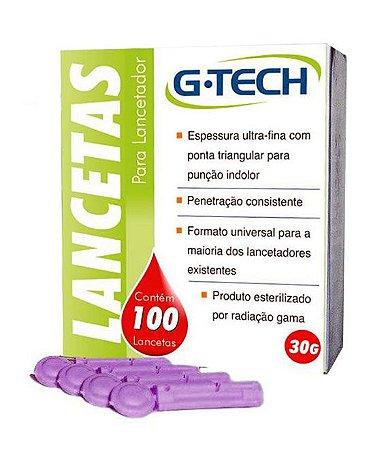 LANCETA PARA LANCETADOR 30G CX C/100UN G-TECH