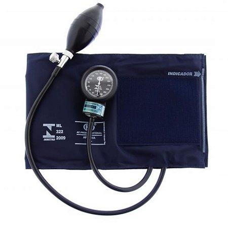 Aparelho De Pressão Adulto Grande Nylon Velcro Azul AP1027 BIC