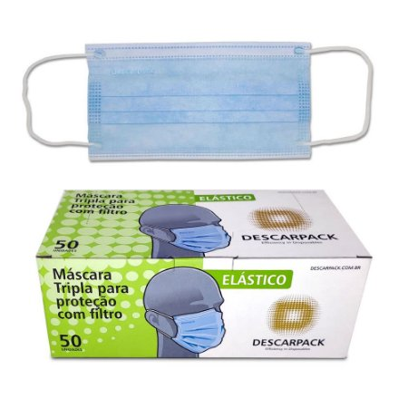 Máscara Tripla com Elástico Azul Caixa C/ 50 Un. Descarpack