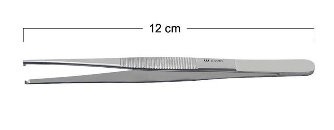 Pinça Anatômica 1x2 Dentes (Dente De Rato) 12cm Stark