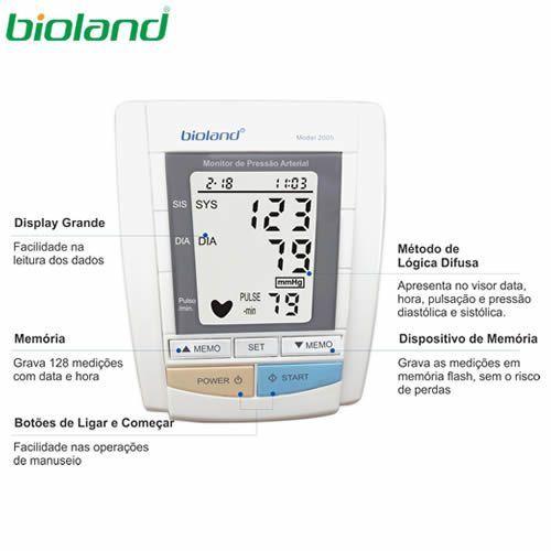 APARELHO DE PRESSÃO DIGITAL AUTOMÁTICO DE BRAÇO BIOLAND