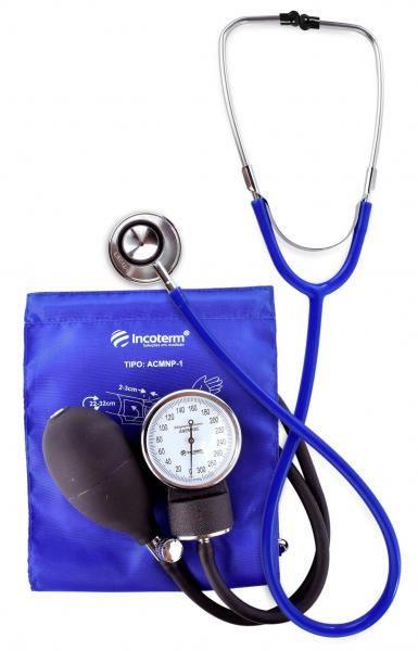 Conjunto Esfigmomanômetro E Estetoscópio Duplo C100 Azul Incoterm