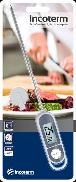 Termômetro Digital Espeto Branco E Cinza 9795 Incoterm