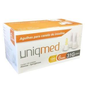 Agulha para Caneta de Insulina 6mm 31G caixa C/ 100 Un. Uniqmed