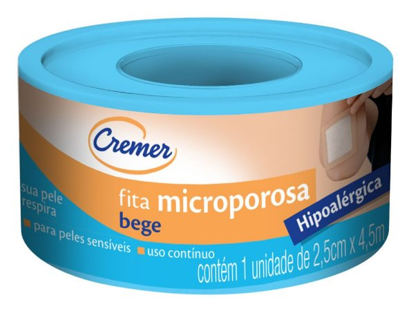 FITA MICROPOROSA BEGE 2,5CMX4,5M CREMER
