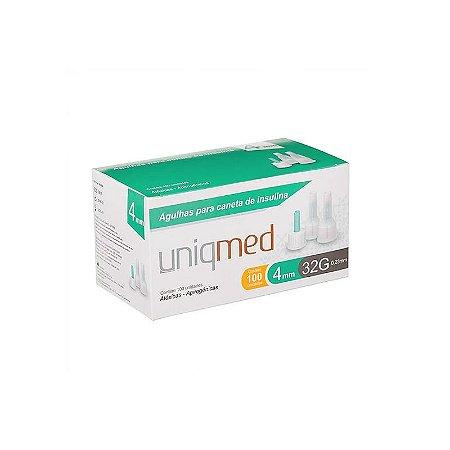 Agulha para Caneta de Insulina 4mm 32G caixa C/100UN UNIQMED
