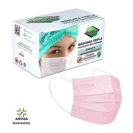 Máscara Cirúrgica Tripla c/ELÁSTICO ROSA caixa c/50 UN. PROTDESC