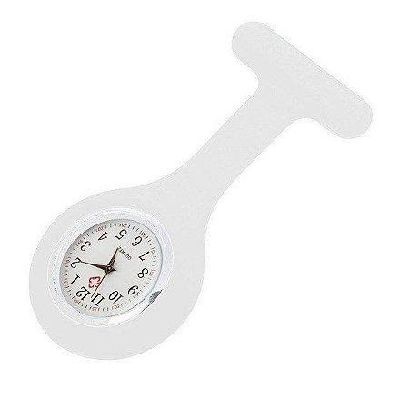 Relógio para Lapela Silicone Branco Supermedy