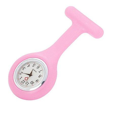 Relógio para Lapela Silicone Rosa Supermedy