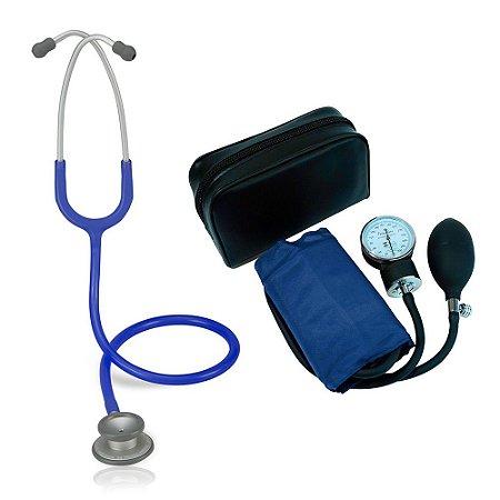 Estetoscópio Pro-lite Azul Royal Spirit + Aparelho de Pressão Azul Premium