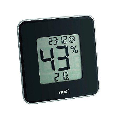 Termo-Higrômetro Digital Style Black Máx/Min Incoterm