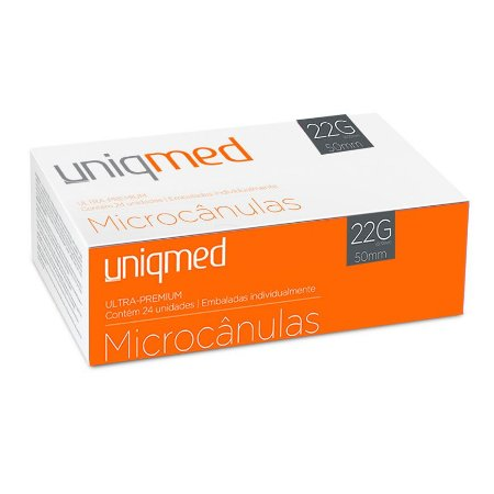 Microcânulas 22G x 50mm Ultra-Premium cx c/24un Uniqmed