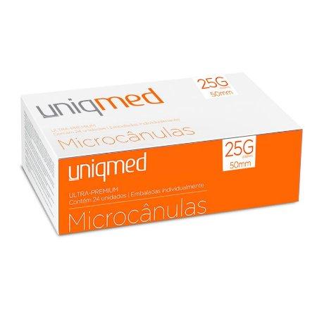 Microcânulas 25G x 50mm Ultra-Premium cx c/24un Uniqmed