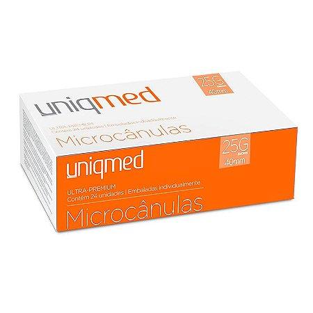 Microcânulas 25G x 40mm Ultra-Premium cx c/24un Uniqmed