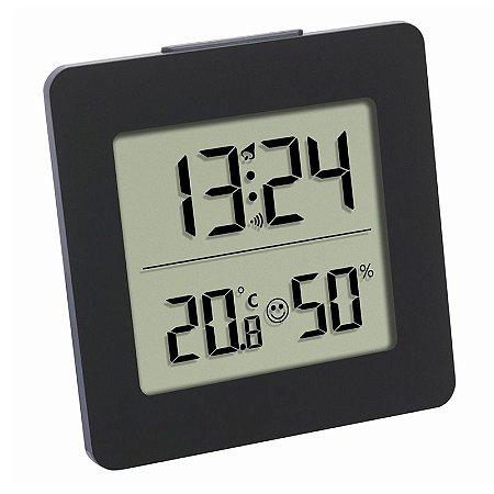 Termo-Higrômetro Digital de Mesa com Relógio Incoterm