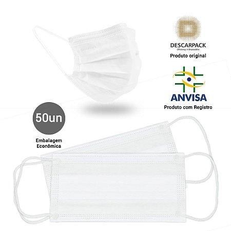 Máscara Cirúrgica Tripla Branca c/Elástico Pct c/50 Un. Descarpack