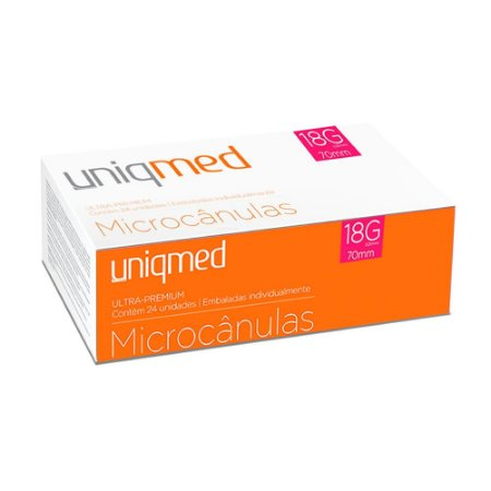 Microcânulas 18G x 70mm Ultra-Premium cx c/24un Uniqmed