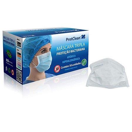 Máscara Tripla c/ELÁSTICO Branca Caixa c/50 un. ProtClean