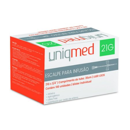 Escalpe SCALP 21G Luer Lock c/100 un. Uniqmed