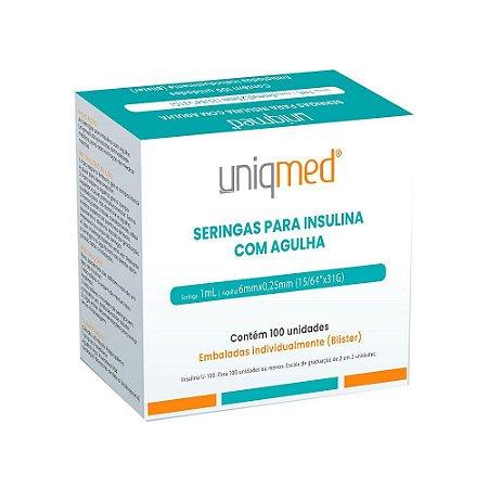 Seringa Insulina 1mL 100UI Ag. 6x0,25mm 31G c/100un BL Uniqmed