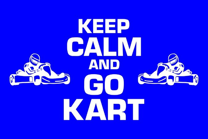 Tapete Capacho Kart Keep Calm azul escuro