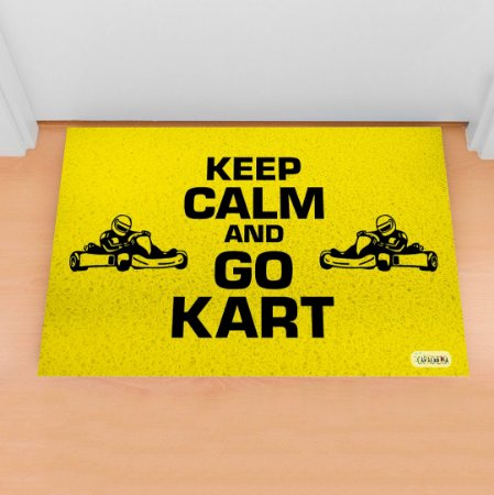 Tapete Capacho Kart Keep Calm amarelo
