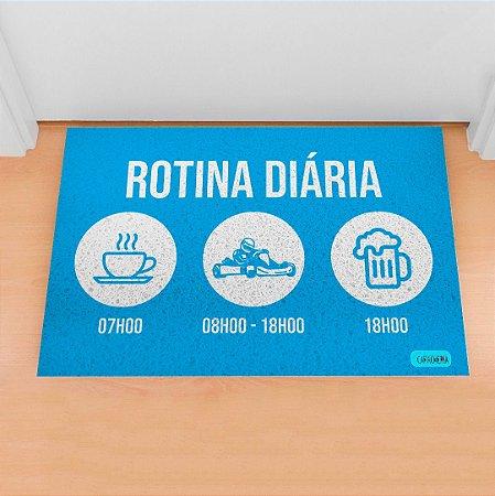 Tapete Capacho Kart Rotina azul