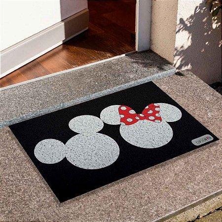 Capacho Mickey E Minnie Cabeça Fundo Preto