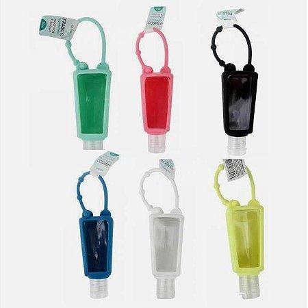 Porta Alcool Gel 30 ml - caixa com 24 potinhos porta Alcool Gel coloridos com capa de silicone - CK4923