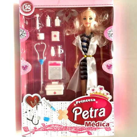 Boneca PETRA - MEDICA com estetoscópio injeção e seringa kit de primeiros socorros e acessórios SQ3093