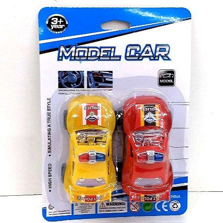 Carrinho de corrida a fricção -MODEL CAR - cartela com 2 carros - 9 cm - AB7301