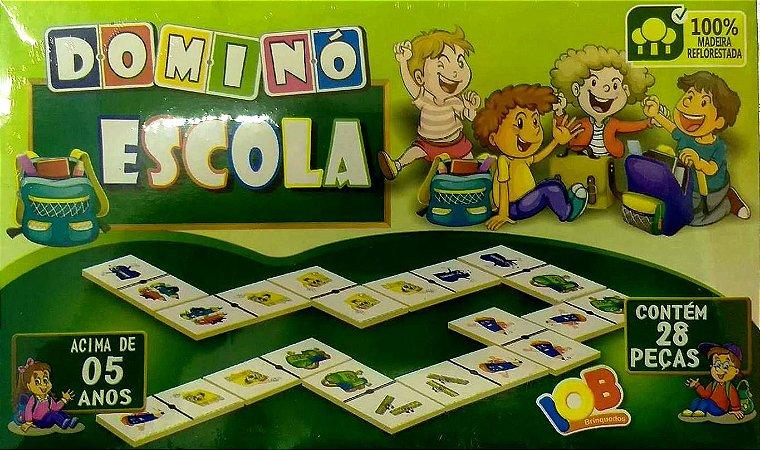 Brinquedo Educativo Jogo Pedagógico IOB Madeira - Domino Escola - Ref.62