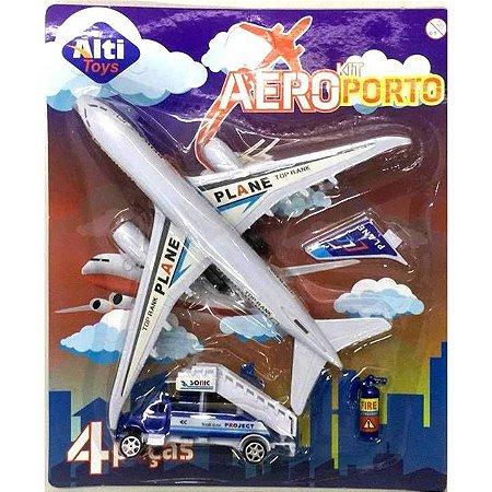 Aviao a Friccao com 3 pecas - 19 cm - com Carrinho com Carga e bagagens - Altimix - AB7305