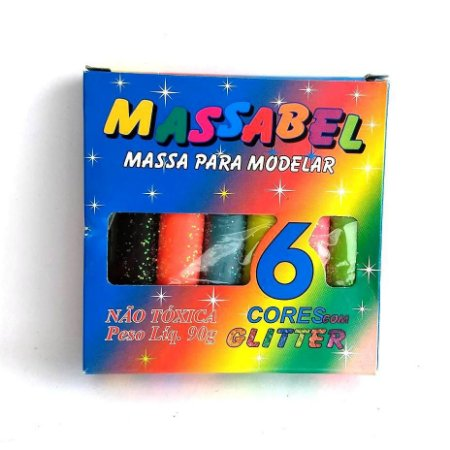 Massa de modelar com Glitter - Massinha MASSABEL 6 cores com Gliter - Ref.5067