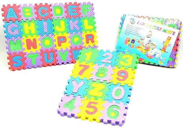 Quebra Cabeca Pedagogico  EVA numeros e letra - Tapete Educativo EVA Puzzle Mat -