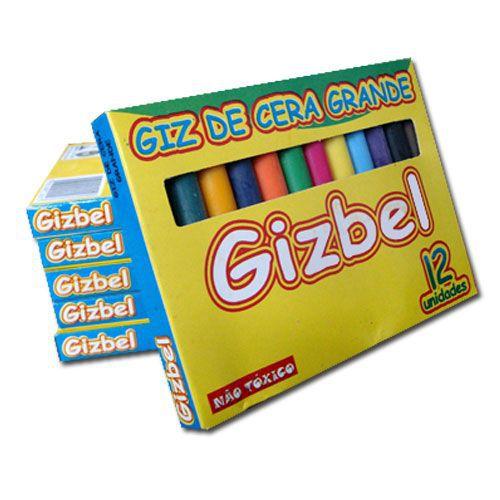 Giz de cera grosso Grande com 12 cores GIZBEL  5069