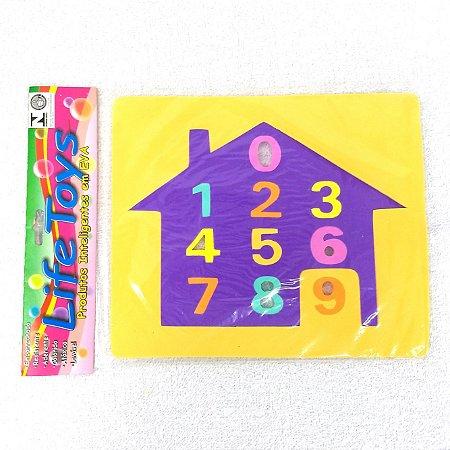 Jogo Educativo Pedagogico em EVA - Encaixe Casinha e Numeros - 19x23 cm - MINGONE