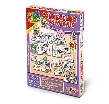Brinquedo Educativo Jogo Pedagógico - Conhecendo as Vogais - Brinquedo Didatico de Madeira IOB Ref.167
