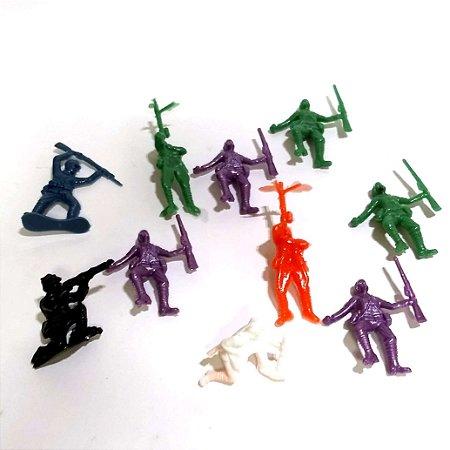 Exercito com 10 soldados miniatura plastico - 123 - JaraguaToys