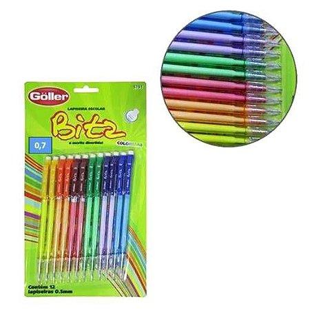 Lapiseira Escolar Bitz Colors 0,7mm Com Borracha - Kit Com 12 pecas -GOLLER - G-466 - 5752